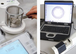 Diamonds submitted for GIA certification are weighed and measured