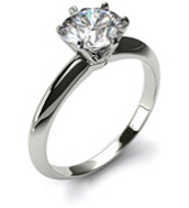 Diamond ring with white gold band